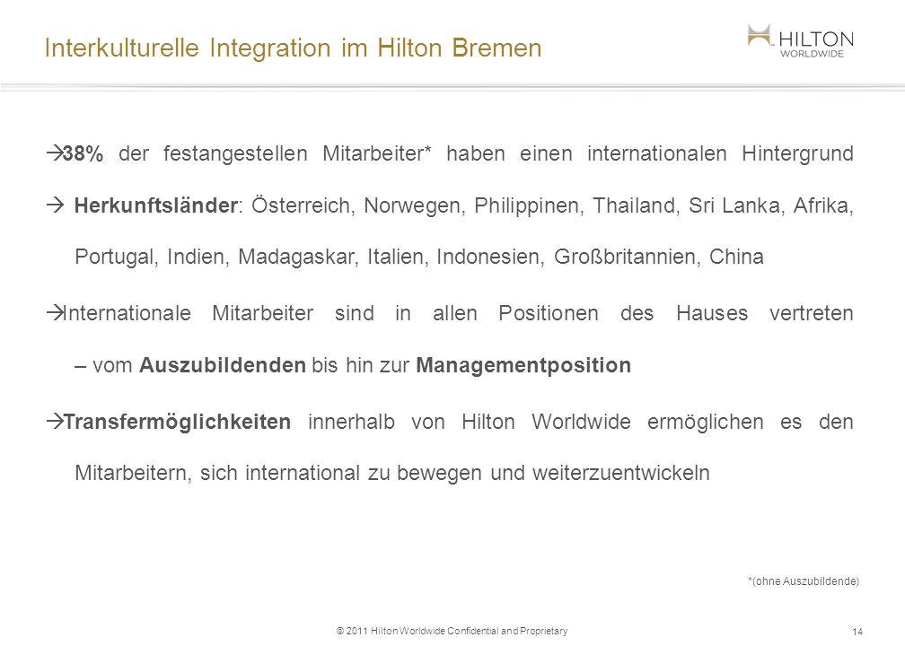 © 2011 Hilton Worldwide Confidential and Proprietary Interkulturelle Integration im Hilton Bremen 38% der festangestellen Mitarbeiter* haben einen int