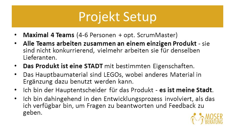 Projekt Setup Maximal 4 Teams (4-6 Personen + opt.