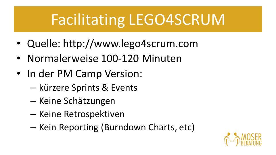 Facilitating LEGO4SCRUM Quelle: http://www.lego4scrum.com Normalerweise 100-120 Minuten In der PM Camp Version: – kürzere Sprints & Events – Keine Schätzungen – Keine Retrospektiven – Kein Reporting (Burndown Charts, etc)