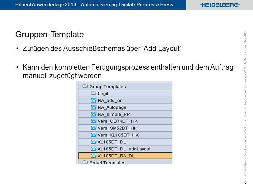© Heidelberger Druckmaschinen AG Prinect Anwendertage 2013 – Automatisierung Digital / Prepress / Press Gruppen-Template Zufügen des Ausschießschemas