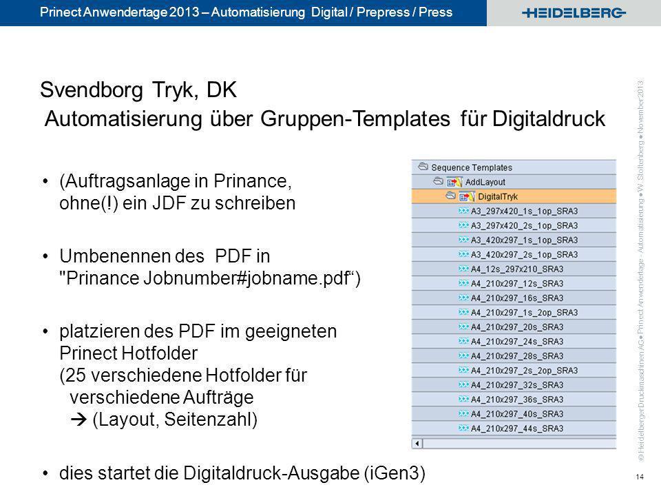 © Heidelberger Druckmaschinen AG Prinect Anwendertage 2013 – Automatisierung Digital / Prepress / Press Svendborg Tryk, DK Automatisierung über Gruppe