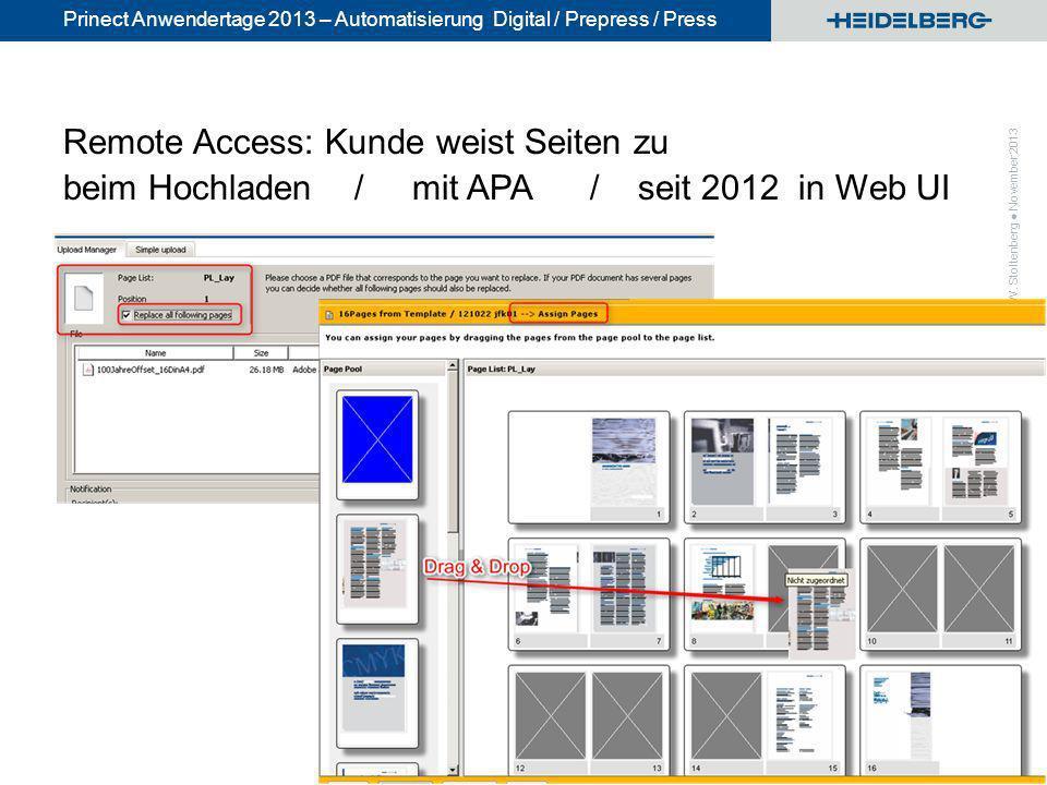 © Heidelberger Druckmaschinen AG Prinect Anwendertage 2013 – Automatisierung Digital / Prepress / Press Remote Access: Kunde weist Seiten zu beim Hoch