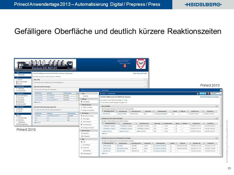 © Heidelberger Druckmaschinen AG Prinect Anwendertage 2013 – Automatisierung Digital / Prepress / Press Gefälligere Oberfläche und deutlich kürzere Re