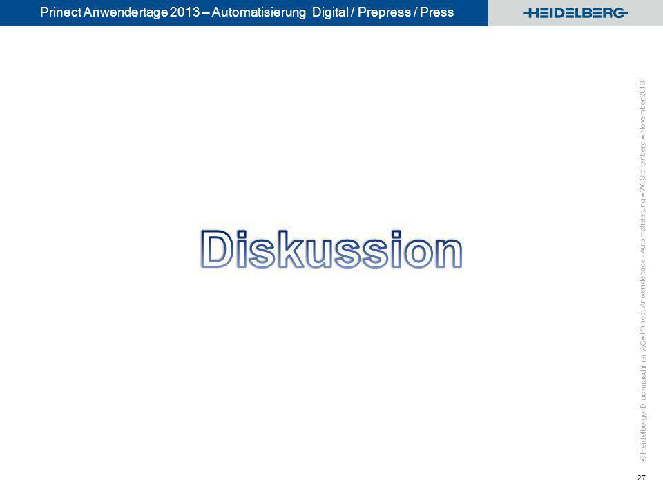 © Heidelberger Druckmaschinen AG Prinect Anwendertage 2013 – Automatisierung Digital / Prepress / Press Prinect Anwendertage - Automatisierung W. Stol