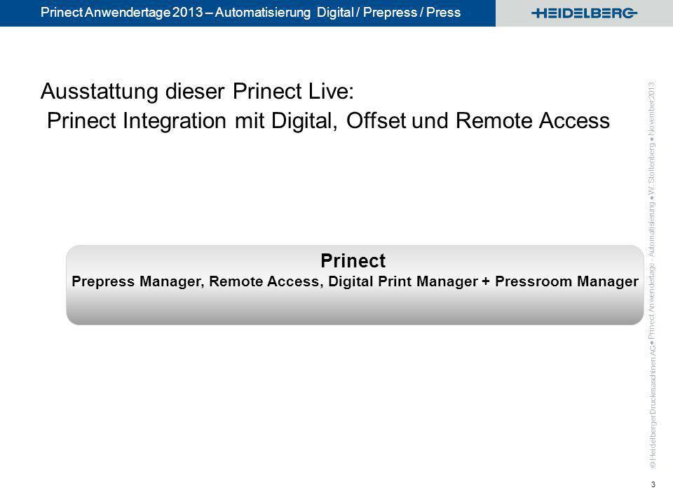 © Heidelberger Druckmaschinen AG Prinect Anwendertage 2013 – Automatisierung Digital / Prepress / Press Ausstattung dieser Prinect Live: Prinect Integ