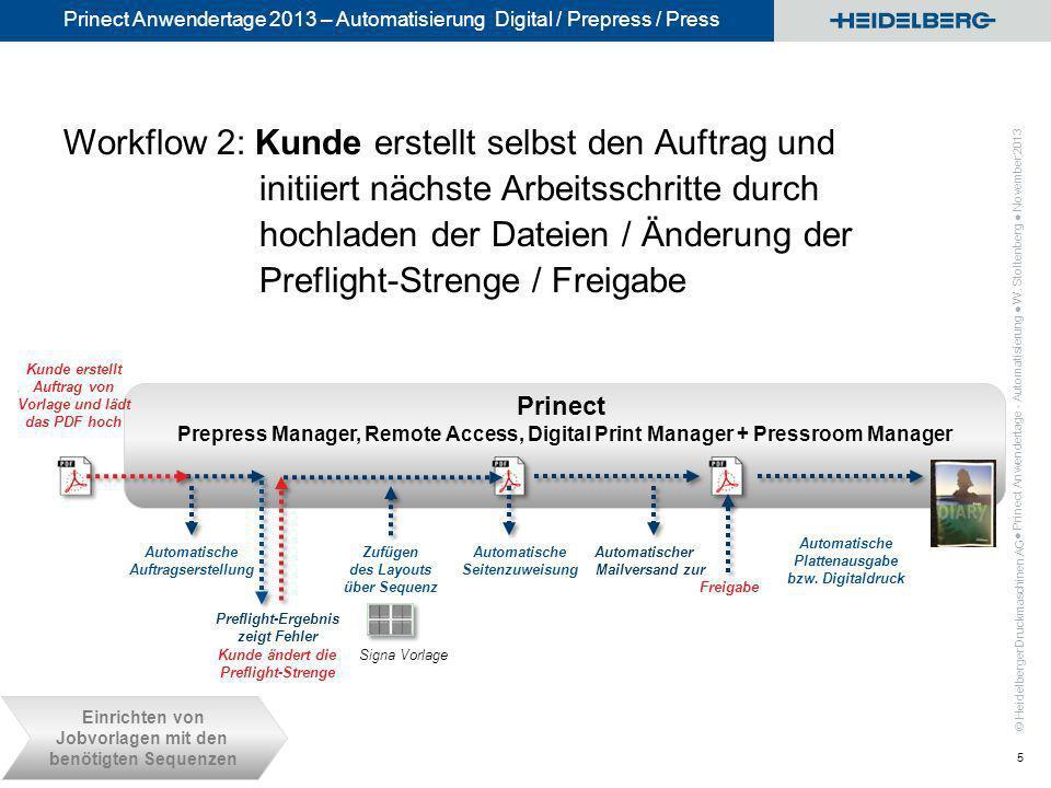 © Heidelberger Druckmaschinen AG Prinect Anwendertage 2013 – Automatisierung Digital / Prepress / Press Prinect Prepress Manager, Remote Access, Digit