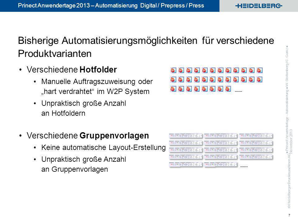 © Heidelberger Druckmaschinen AG Prinect Anwendertage 2013 – Automatisierung Digital / Prepress / Press Bisherige Automatisierungsmöglichkeiten für ve