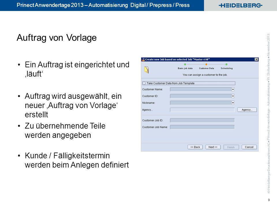 © Heidelberger Druckmaschinen AG Prinect Anwendertage 2013 – Automatisierung Digital / Prepress / Press Auftrag von Vorlage Ein Auftrag ist eingericht
