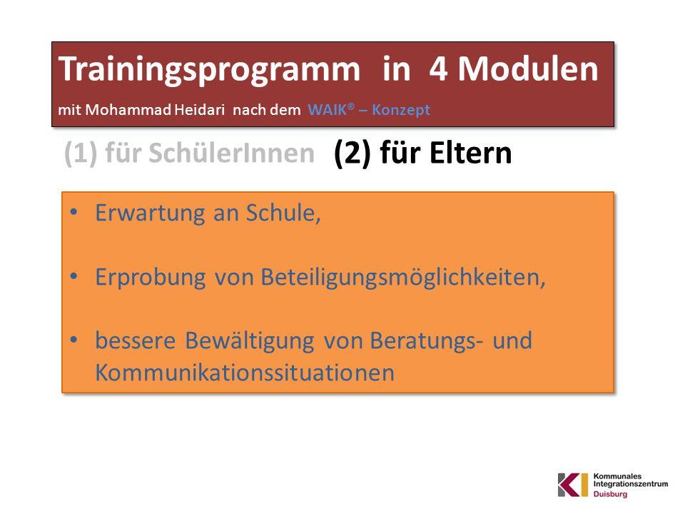 Trainingsprogramm in 4 Modulen mit Mohammad Heidari nach dem WAIK® – Konzept (2) für Eltern Erwartung an Schule, Erprobung von Beteiligungsmöglichkeit