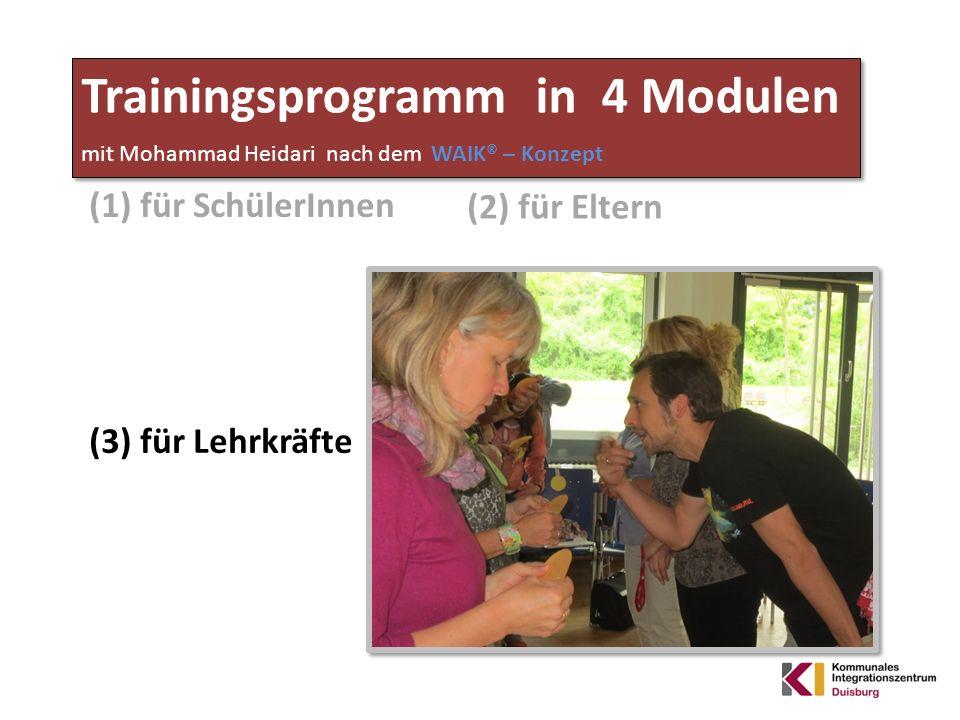Trainingsprogramm in 4 Modulen mit Mohammad Heidari nach dem WAIK® – Konzept (1) für SchülerInnen (2) für Eltern (3) für Lehrkräfte