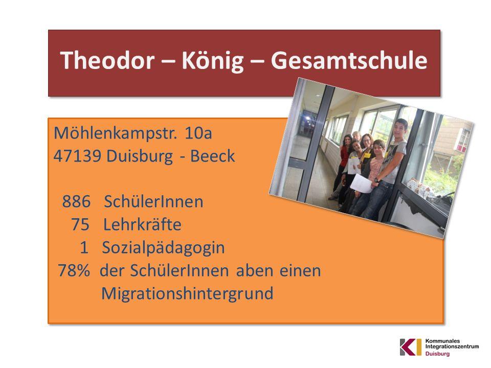 Theodor – König – Gesamtschule Möhlenkampstr. 10a 47139 Duisburg - Beeck 886 SchülerInnen 75 Lehrkräfte 1 Sozialpädagogin 78% der SchülerInnen aben ei