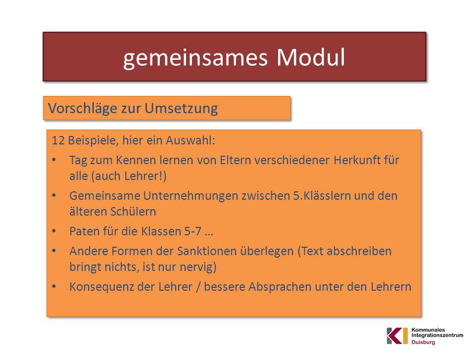 gemeinsames Modul Vorschläge zur Umsetzung 12 Beispiele, hier ein Auswahl: Tag zum Kennen lernen von Eltern verschiedener Herkunft für alle (auch Lehr