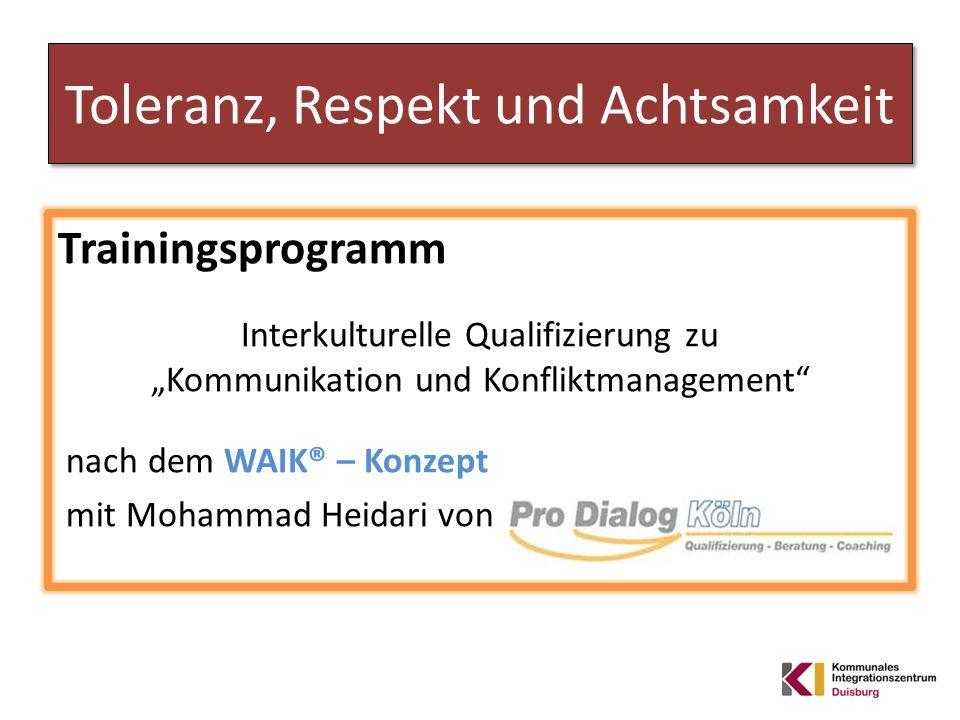Toleranz, Respekt und Achtsamkeit Trainingsprogramm Interkulturelle Qualifizierung zu Kommunikation und Konfliktmanagement nach dem WAIK® – Konzept mi