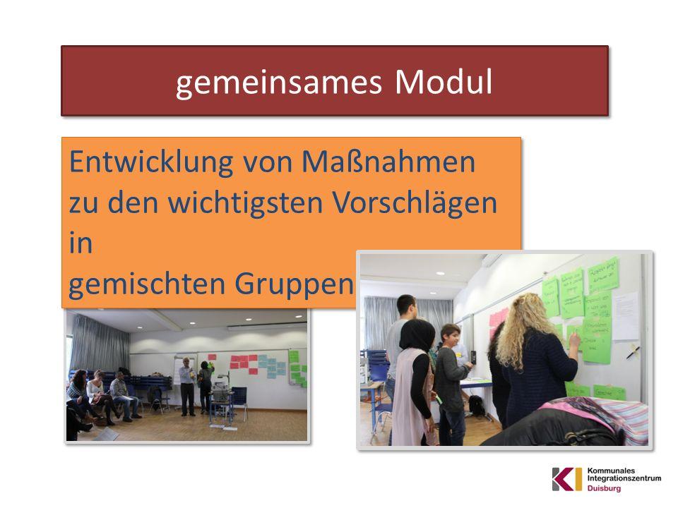 Entwicklung von Maßnahmen zu den wichtigsten Vorschlägen in gemischten Gruppen Entwicklung von Maßnahmen zu den wichtigsten Vorschlägen in gemischten