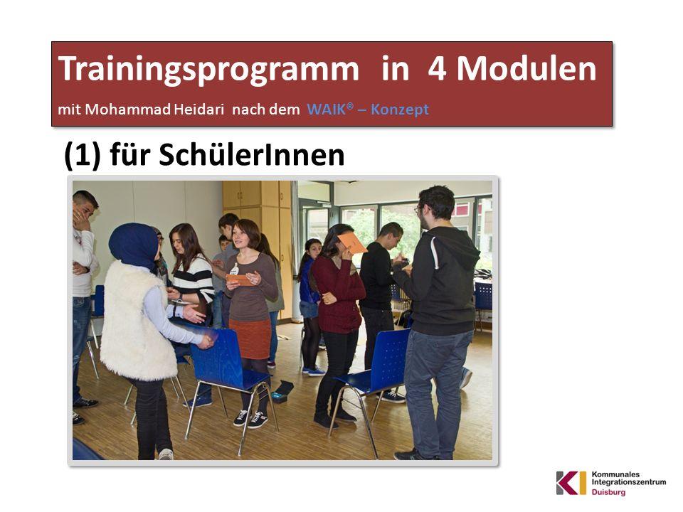 Trainingsprogramm in 4 Modulen mit Mohammad Heidari nach dem WAIK® – Konzept (1) für SchülerInnen