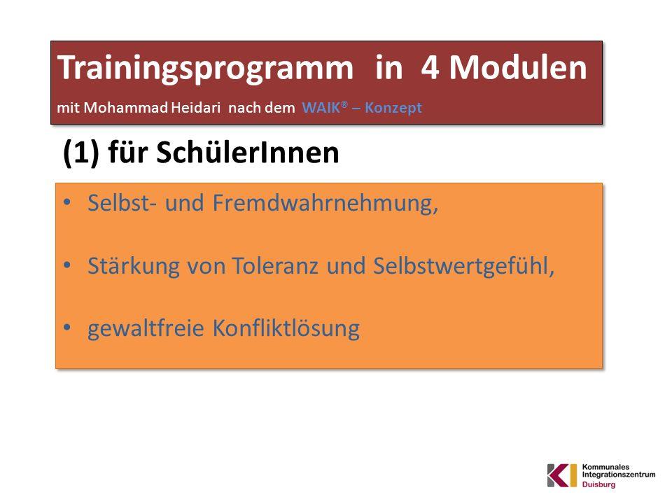 Trainingsprogramm in 4 Modulen mit Mohammad Heidari nach dem WAIK® – Konzept (1) für SchülerInnen Selbst- und Fremdwahrnehmung, Stärkung von Toleranz