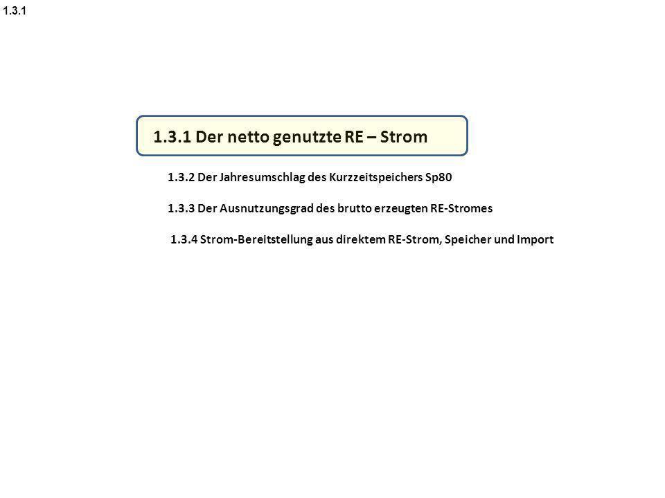 1.3.1 Der netto genutzte RE – Strom 1.3.2 Der Jahresumschlag des Kurzzeitspeichers Sp80 1.3.3 Der Ausnutzungsgrad des brutto erzeugten RE-Stromes 1.3.