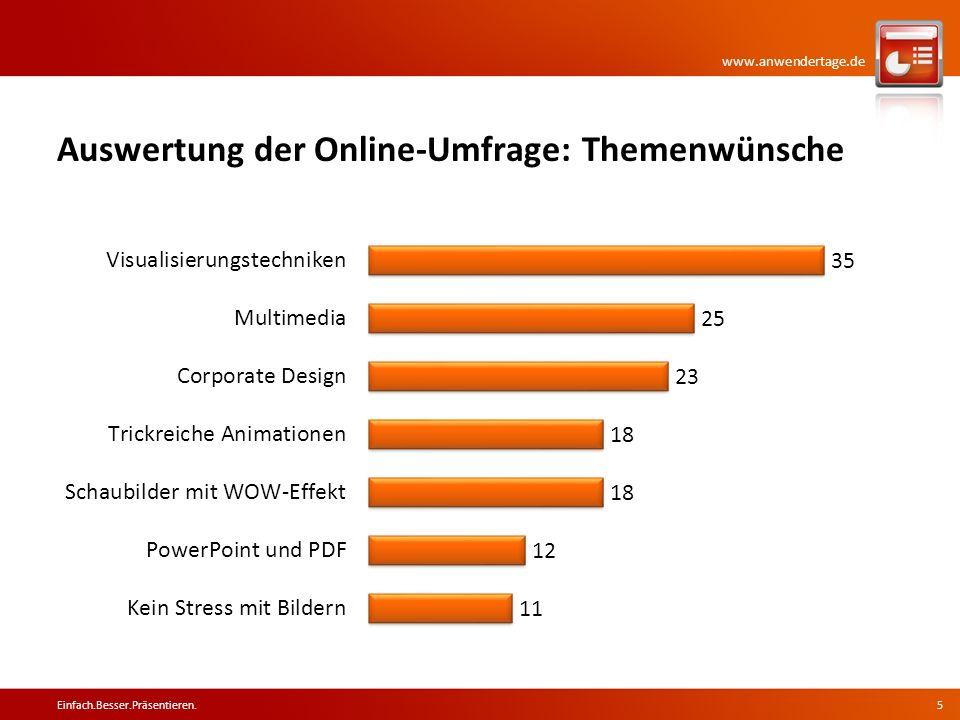 www.anwendertage.de Auswertung der Online-Umfrage: Themenwünsche Einfach.Besser.Präsentieren.5