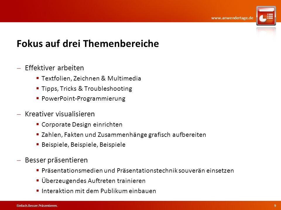 www.anwendertage.de Fokus auf drei Themenbereiche Effektiver arbeiten Textfolien, Zeichnen & Multimedia Tipps, Tricks & Troubleshooting PowerPoint-Pro
