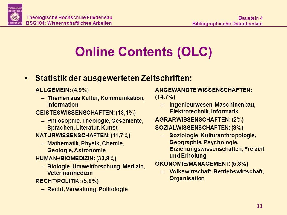 Theologische Hochschule Friedensau BSG104: Wissenschaftliches Arbeiten Baustein 4 Bibliographische Datenbanken 11 Online Contents (OLC) Statistik der