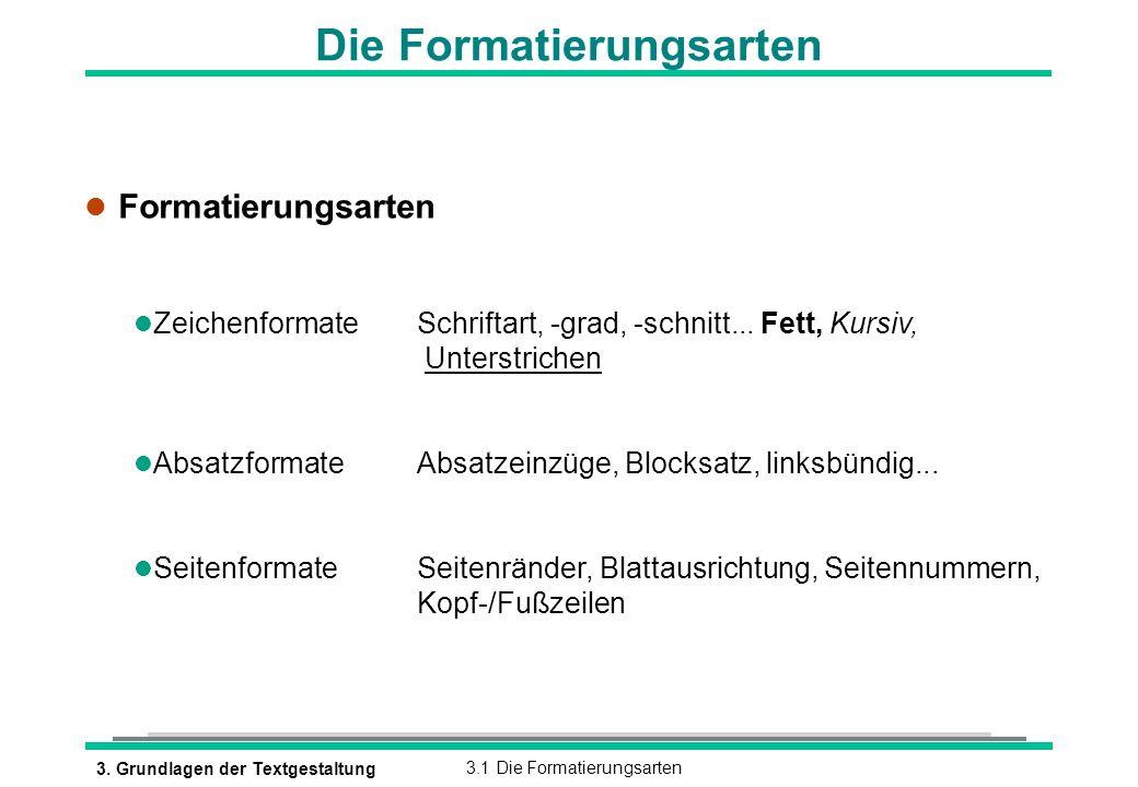 3. Grundlagen der Textgestaltung3.1 Die Formatierungsarten Die Formatierungsarten l Formatierungsarten l ZeichenformateSchriftart, -grad, -schnitt...