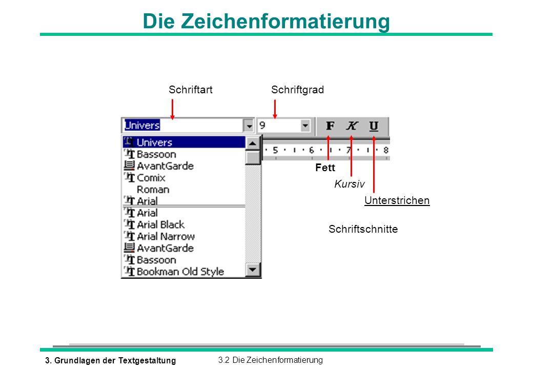 3. Grundlagen der Textgestaltung3.2 Die Zeichenformatierung Die Zeichenformatierung SchriftartSchriftgrad Fett Kursiv Unterstrichen Schriftschnitte