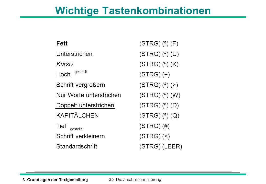 3. Grundlagen der Textgestaltung3.2 Die Zeichenformatierung Wichtige Tastenkombinationen Fett (STRG) (ª) (F) Unterstrichen (STRG) (ª) (U) Kursiv (STRG