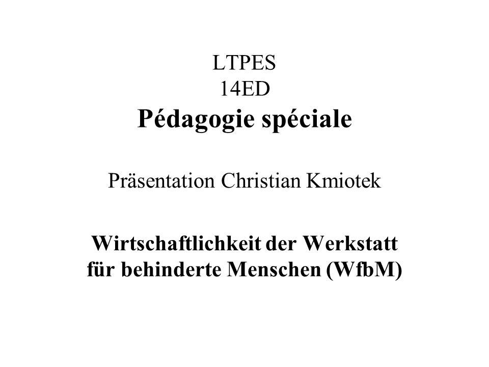 LTPES 14ED Pédagogie spéciale Präsentation Christian Kmiotek Wirtschaftlichkeit der Werkstatt für behinderte Menschen (WfbM)