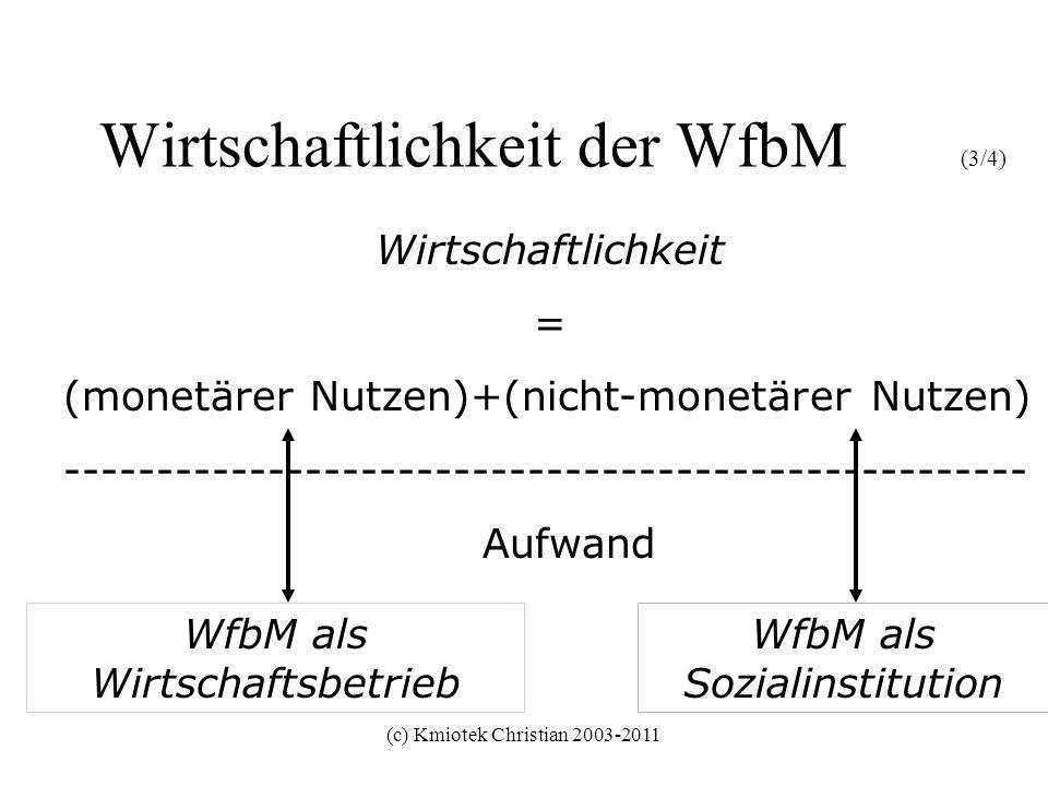(c) Kmiotek Christian 2003-2011 Wirtschaftlichkeit der WfbM (3/4) Wirtschaftlichkeit = (monetärer Nutzen)+(nicht-monetärer Nutzen) -------------------