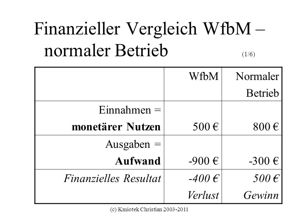 (c) Kmiotek Christian 2003-2011 Finanzieller Vergleich WfbM – normaler Betrieb (1/6) WfbMNormaler Betrieb Einnahmen = monetärer Nutzen500 800 Ausgaben