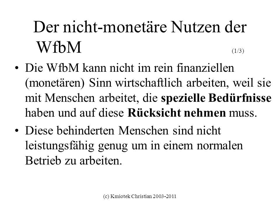 (c) Kmiotek Christian 2003-2011 Der nicht-monetäre Nutzen der WfbM (1/3) Die WfbM kann nicht im rein finanziellen (monetären) Sinn wirtschaftlich arbe