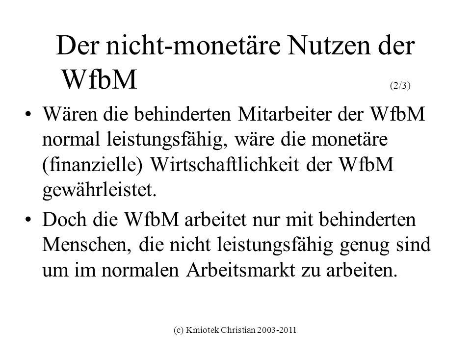 (c) Kmiotek Christian 2003-2011 Der nicht-monetäre Nutzen der WfbM (2/3) Wären die behinderten Mitarbeiter der WfbM normal leistungsfähig, wäre die mo