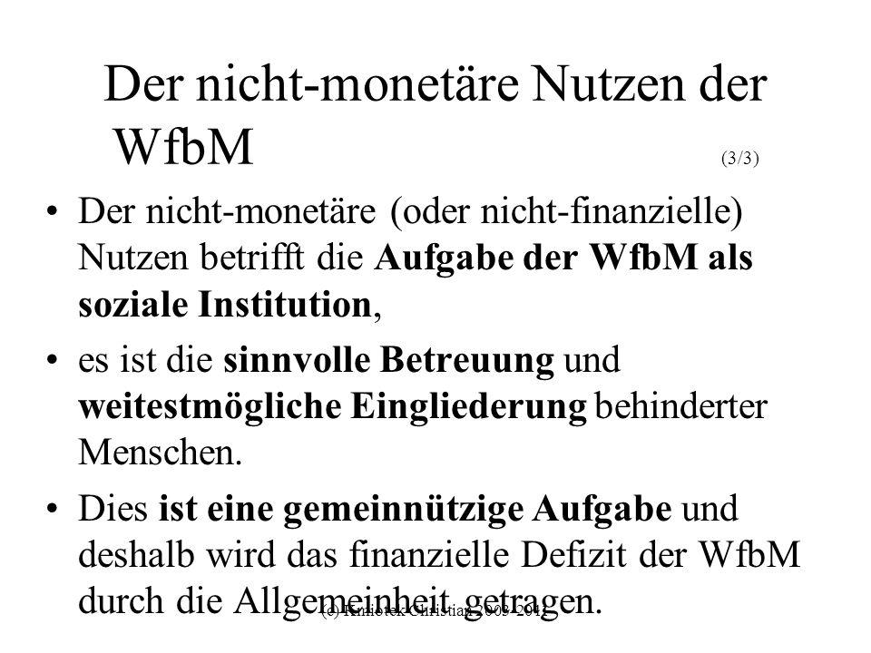 (c) Kmiotek Christian 2003-2011 Der nicht-monetäre Nutzen der WfbM (3/3) Der nicht-monetäre (oder nicht-finanzielle) Nutzen betrifft die Aufgabe der W