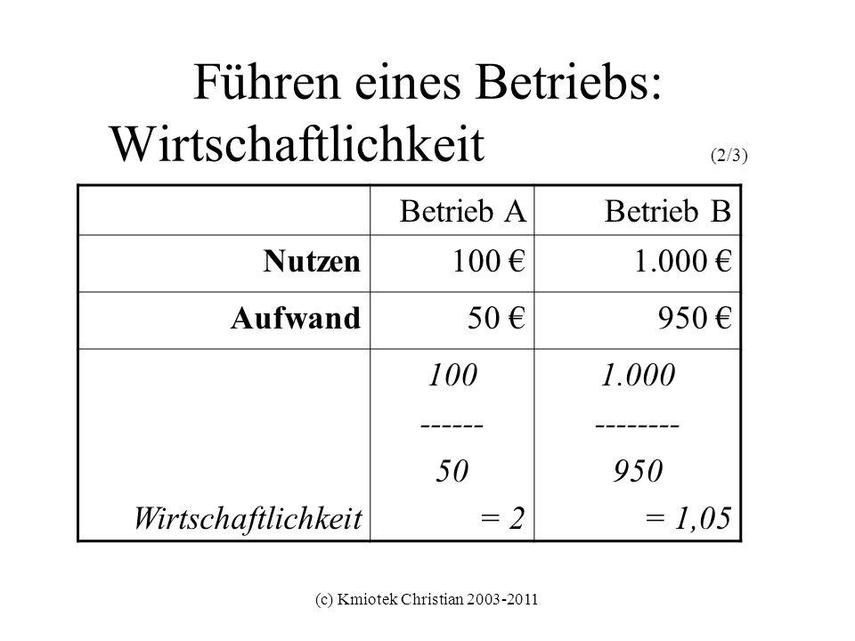 (c) Kmiotek Christian 2003-2011 Führen eines Betriebs: Wirtschaftlichkeit (3/3) Betrieb ABetrieb C Nutzen100 50 Aufwand50 100 Wirtschaftlichkeit 100 / 50 = 2 50 / 100 = 0,5 Gute Wirtschaftlichkeit falls grösser als 1 Schlechte Wirtschaftlichkeit falls kleiner als 1