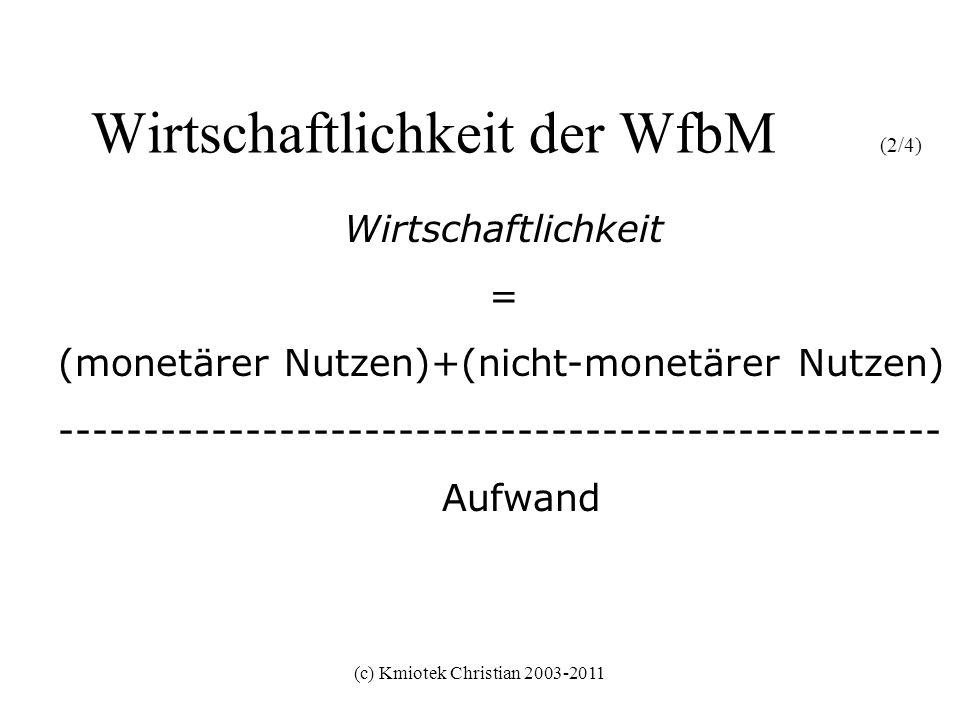 (c) Kmiotek Christian 2003-2011 Wirtschaftlichkeit der WfbM (3/4) Wirtschaftlichkeit = (monetärer Nutzen)+(nicht-monetärer Nutzen) ---------------------------------------------------- Aufwand WfbM als Wirtschaftsbetrieb WfbM als Sozialinstitution