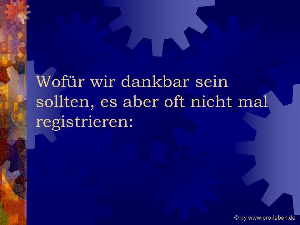 © by www.pro-leben.de Wofür wir dankbar sein sollten, es aber oft nicht mal registrieren: