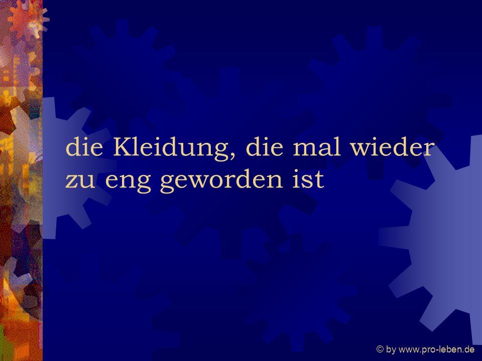© by www.pro-leben.de die Kleidung, die mal wieder zu eng geworden ist