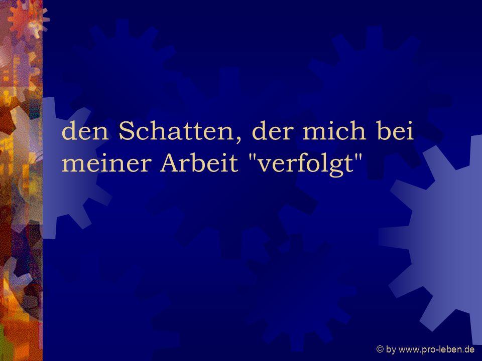 © by www.pro-leben.de den Schatten, der mich bei meiner Arbeit verfolgt