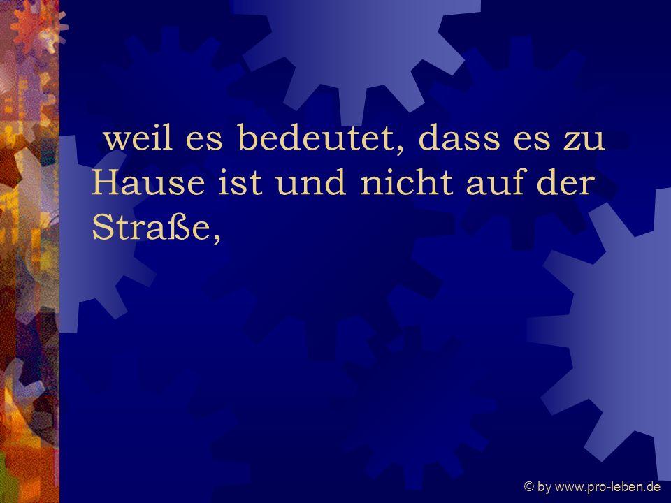 © by www.pro-leben.de weil es bedeutet, dass es zu Hause ist und nicht auf der Straße,