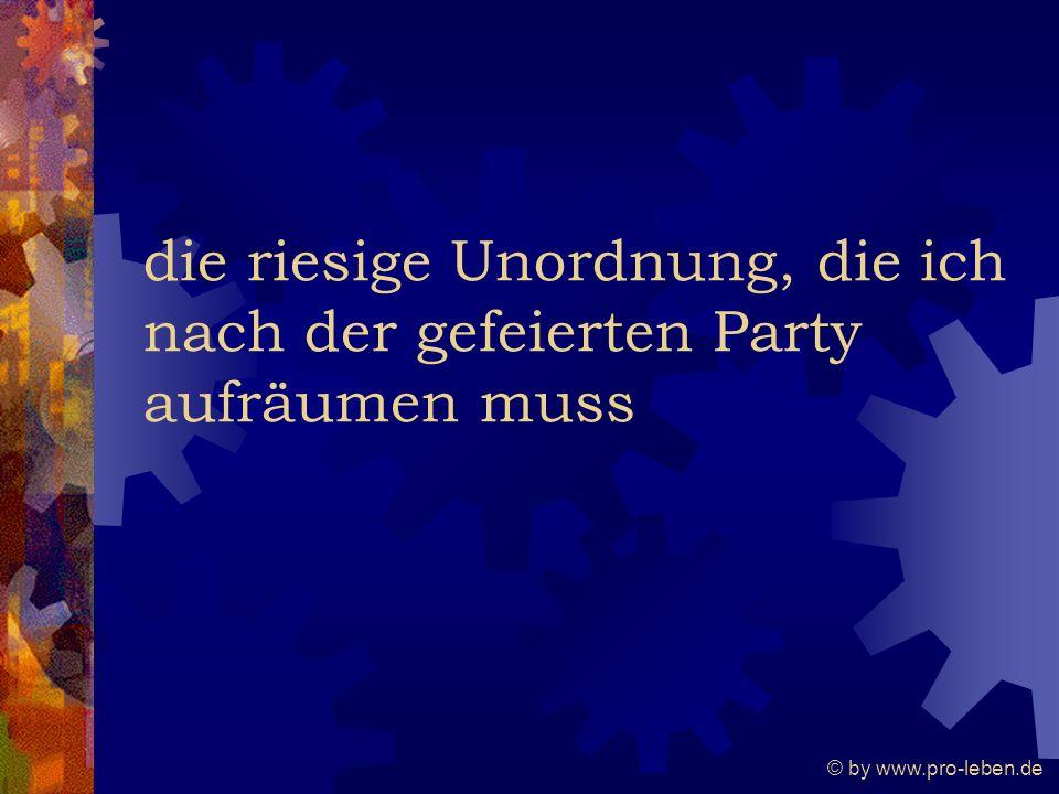 © by www.pro-leben.de die riesige Unordnung, die ich nach der gefeierten Party aufräumen muss