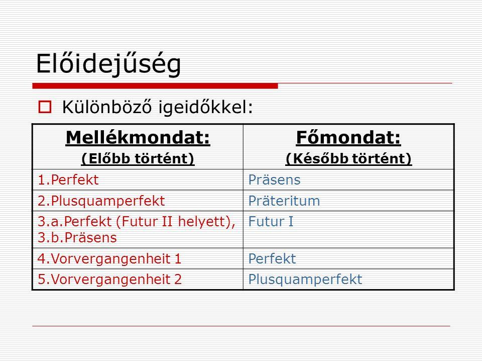 Előidejűség Mellékmondat: (Előbb történt) Főmondat: (Később történt) 1.PerfektPräsens 2.PlusquamperfektPräteritum 3.a.Perfekt (Futur II helyett), 3.b.Präsens Futur I 4.Vorvergangenheit 1Perfekt 5.Vorvergangenheit 2Plusquamperfekt Különböző igeidőkkel: