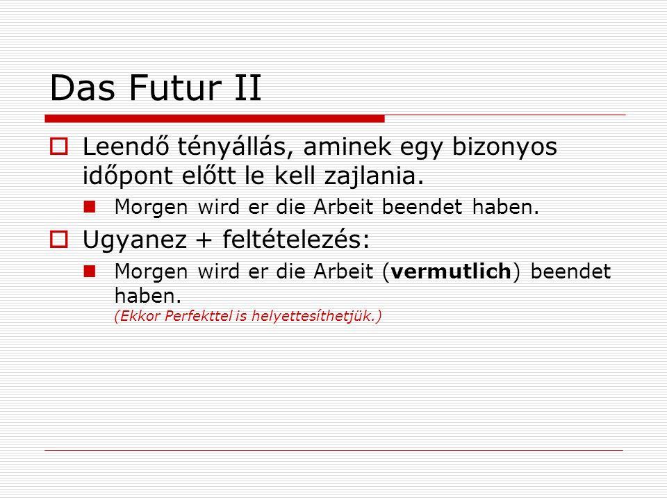 Das Futur II Múlt + feltételezés: Er wird die Stadt besichtigt haben.