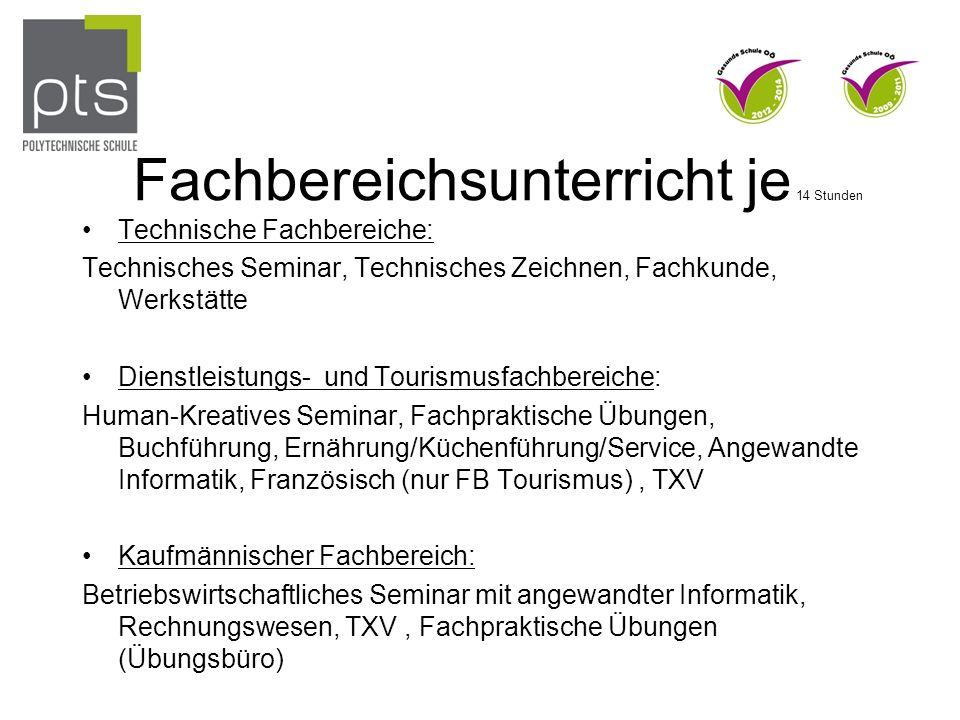 Fachbereichsunterricht je 14 Stunden Technische Fachbereiche: Technisches Seminar, Technisches Zeichnen, Fachkunde, Werkstätte Dienstleistungs- und To