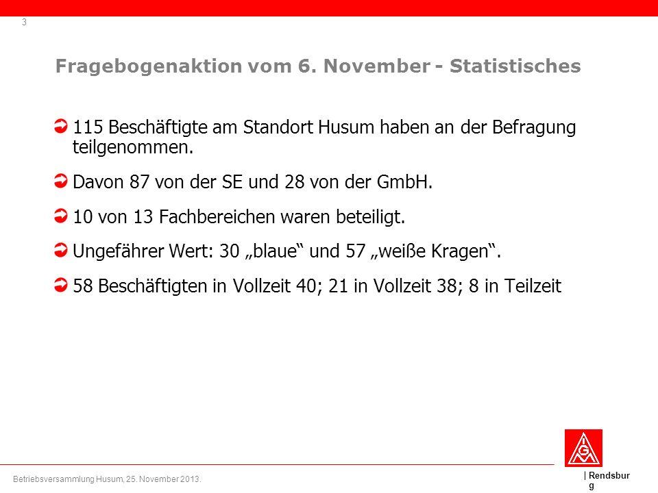 Rendsbur g Fragebogenaktion vom 6. November - Statistisches 115 Beschäftigte am Standort Husum haben an der Befragung teilgenommen. Davon 87 von der S
