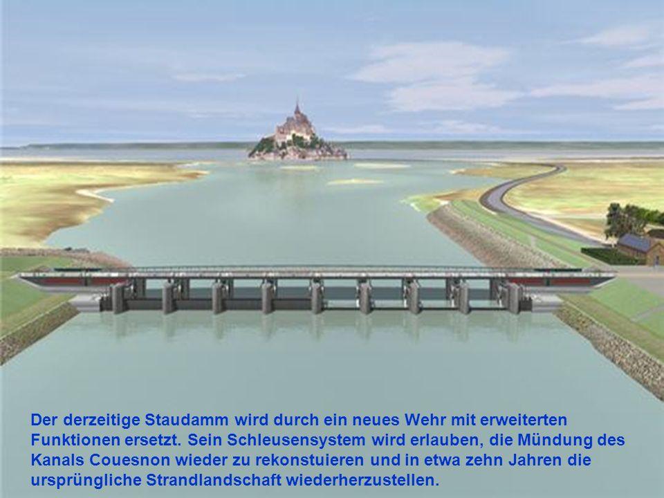 Die Brücke führt zu einer Furt auf einer Höhe von 7 Metern 30. Je nach Gezeitenkoeffizienten steigt das Meer mehr oder weniger hoch. Einmal pro Jahr w