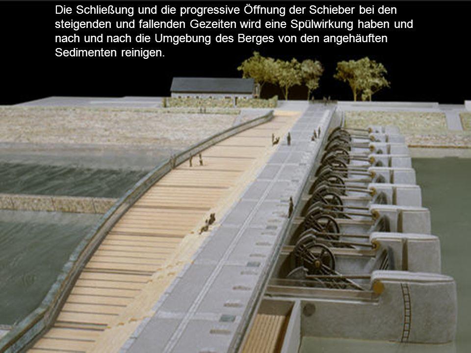 Der derzeitige Staudamm wird durch ein neues Wehr mit erweiterten Funktionen ersetzt. Sein Schleusensystem wird erlauben, die Mündung des Kanals Coues