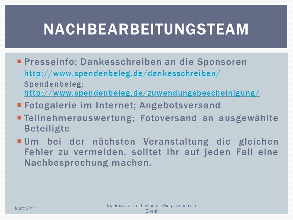 Presseinfo; Dankesschreiben an die Sponsoren http://www.spendenbeleg.de/dankesschreiben/ Spendenbeleg: http://www.spendenbeleg.de/zuwendungsbescheinig