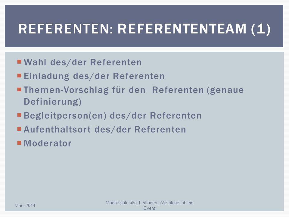 Wahl des/der Referenten Einladung des/der Referenten Themen-Vorschlag für den Referenten (genaue Definierung) Begleitperson(en) des/der Referenten Auf