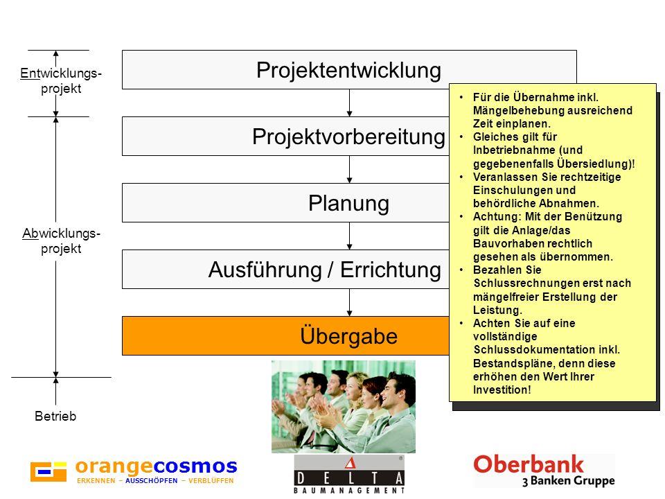 orangecosmos ERKENNEN – AUSSCHÖPFEN – VERBLÜFFEN Projektentwicklung Projektvorbereitung Planung Ausführung / Errichtung Übergabe Für die Übernahme ink