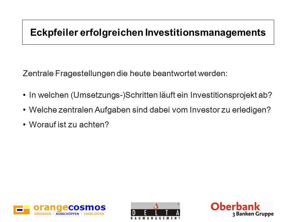 orangecosmos ERKENNEN – AUSSCHÖPFEN – VERBLÜFFEN Projektentwicklung Jeder Beteiligte muss die Erwartungen und Wünsche des Investors (=das Ziel des Investors) kennen.